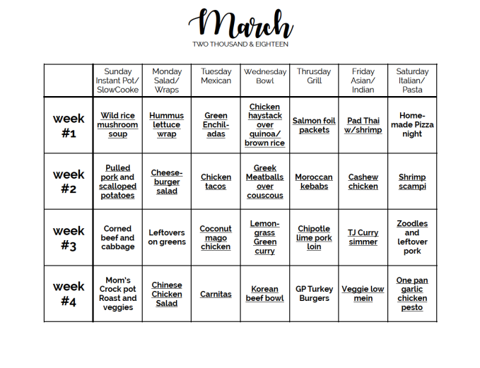 march menu template meal calendar