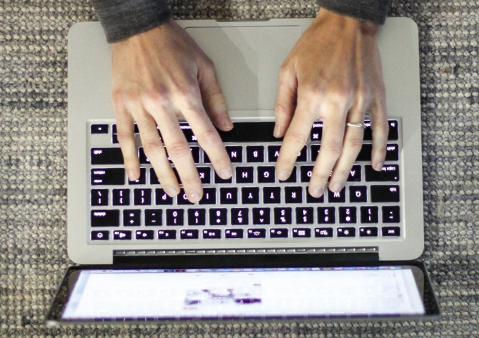 hands computer laptop